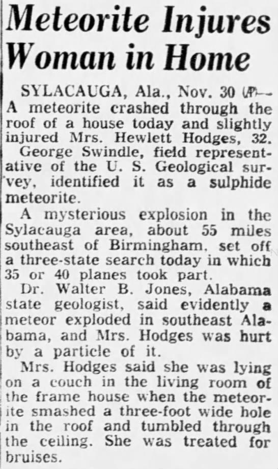 Meteorite Injures Woman in Home -