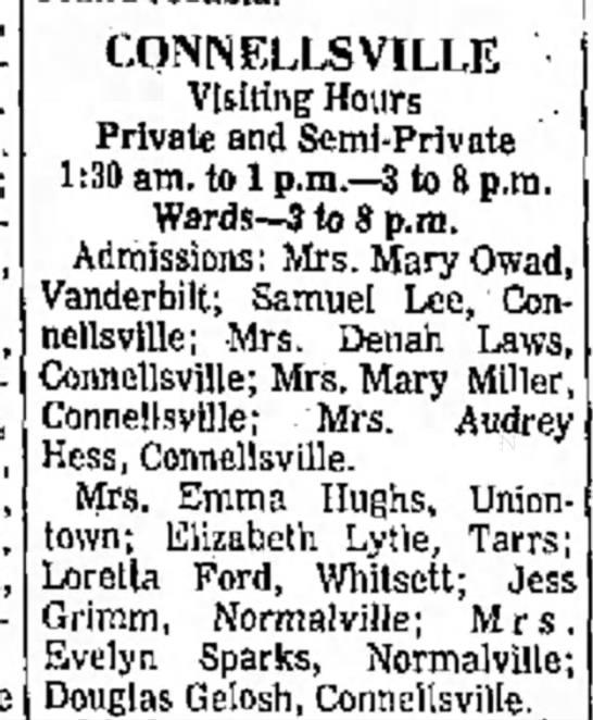 Mrs. Mary A. Owad, Vanderbilt, hospitalized -