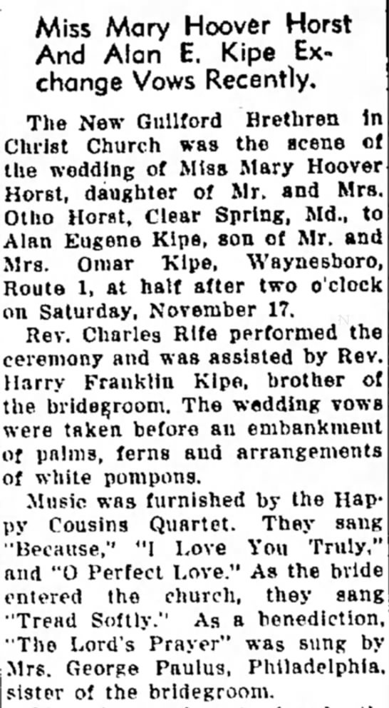 Mary Horst weds Alan Kipe part 1 - and Mrs. No- and of south- n g at Miss Mary...