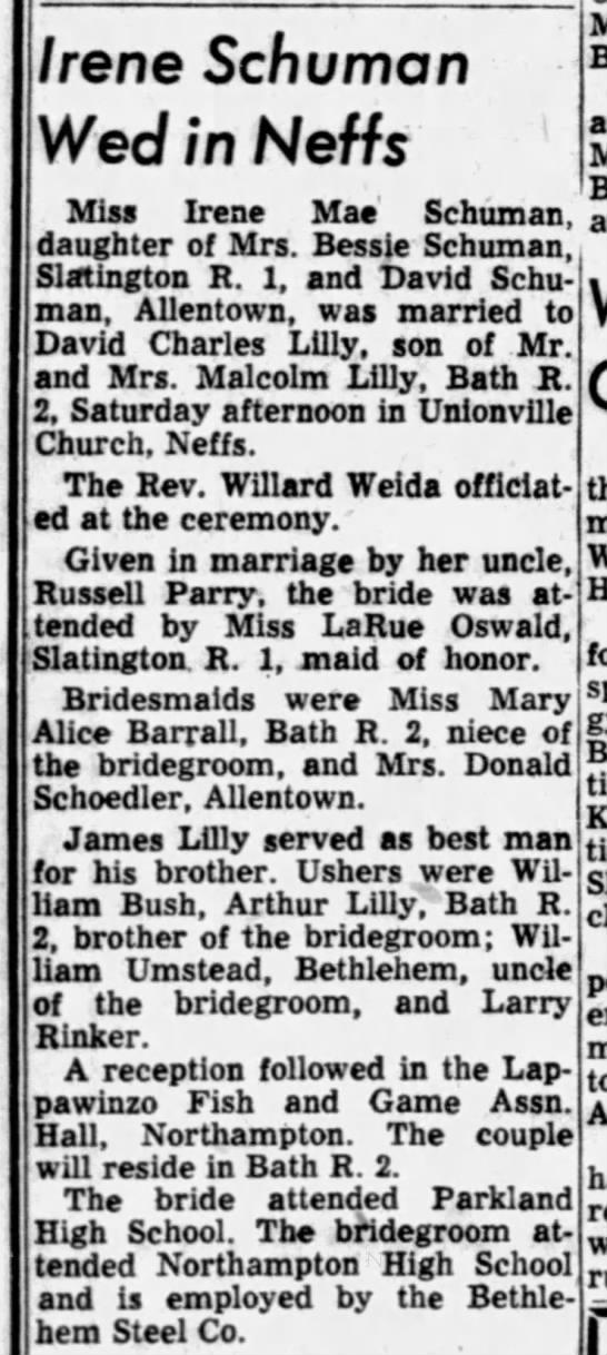 Irene Weds David Lilly Nov 3, 1956 -