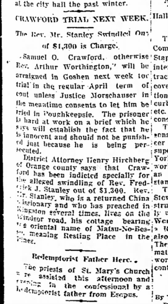 Craford Trial to Begin in Goshen -