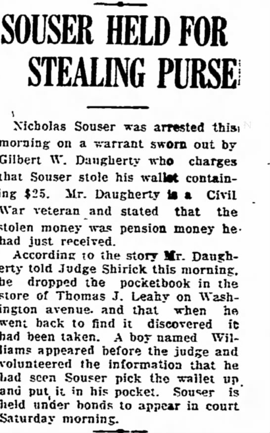 Nicholas Souser held for pick-pocketing. Kingston NY -