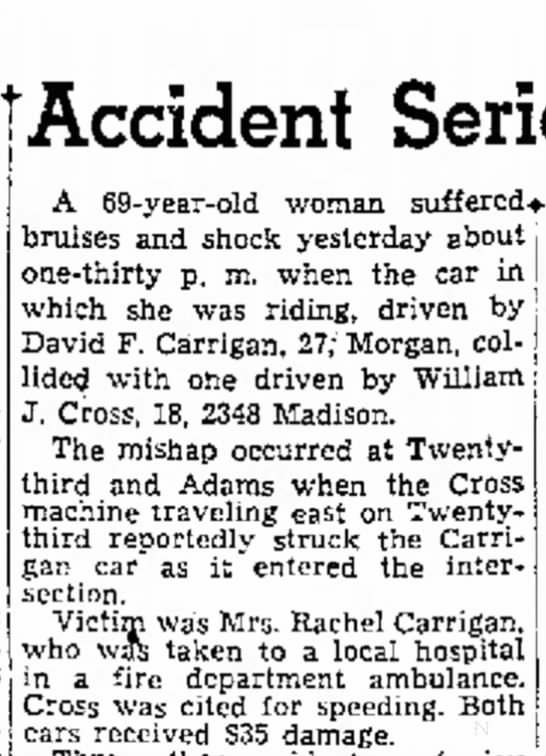 1951 Car Accident with David and Rachel Carrigan -