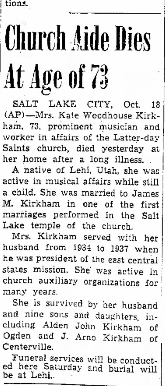 Kate Woodhouse Obituary -