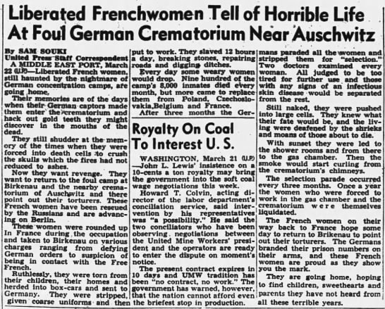 """Liberated Frenchwomen tell of horrible life at foul German crematorium near Auschwitz"" - Liberated Frenchwomen Tell of Horrible Life At..."