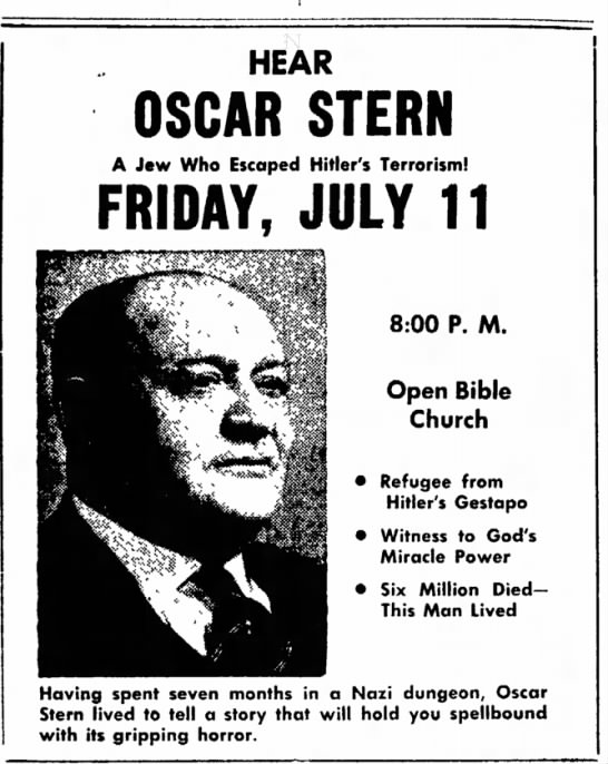 Oscar Stern, Kossuth County Advance (Algona, IA), 10 Jul 1952, page 14, column 7 and 8 - HEAR OSCAR STERN A Jew Who Escaped Hitler's...