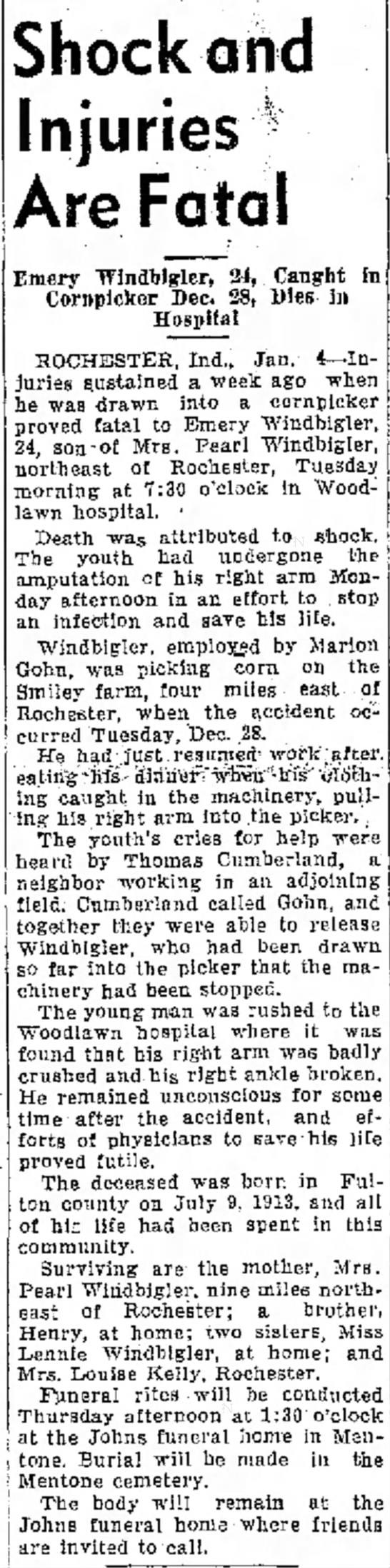 Emery Windbigler accident -