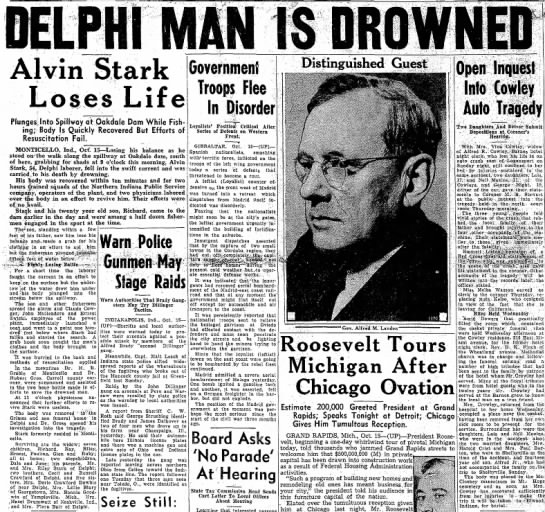 - DELPHI MAN IS DROWNED Alvin Stark Loses L i f e...