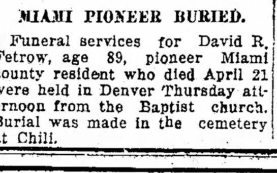 4/25/1925 David Fetrow burial -