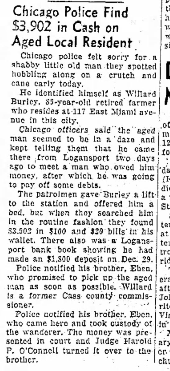 Willard Burley 30 Mar 1949 Logansport Pharos -