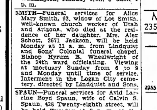 Alice Baugh Smith funeral -