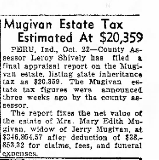 Mugivan Estate Tax