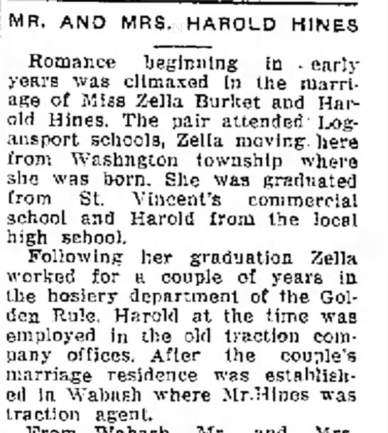 24 Dec 1937 harold hines, zella burket marriage announcement -
