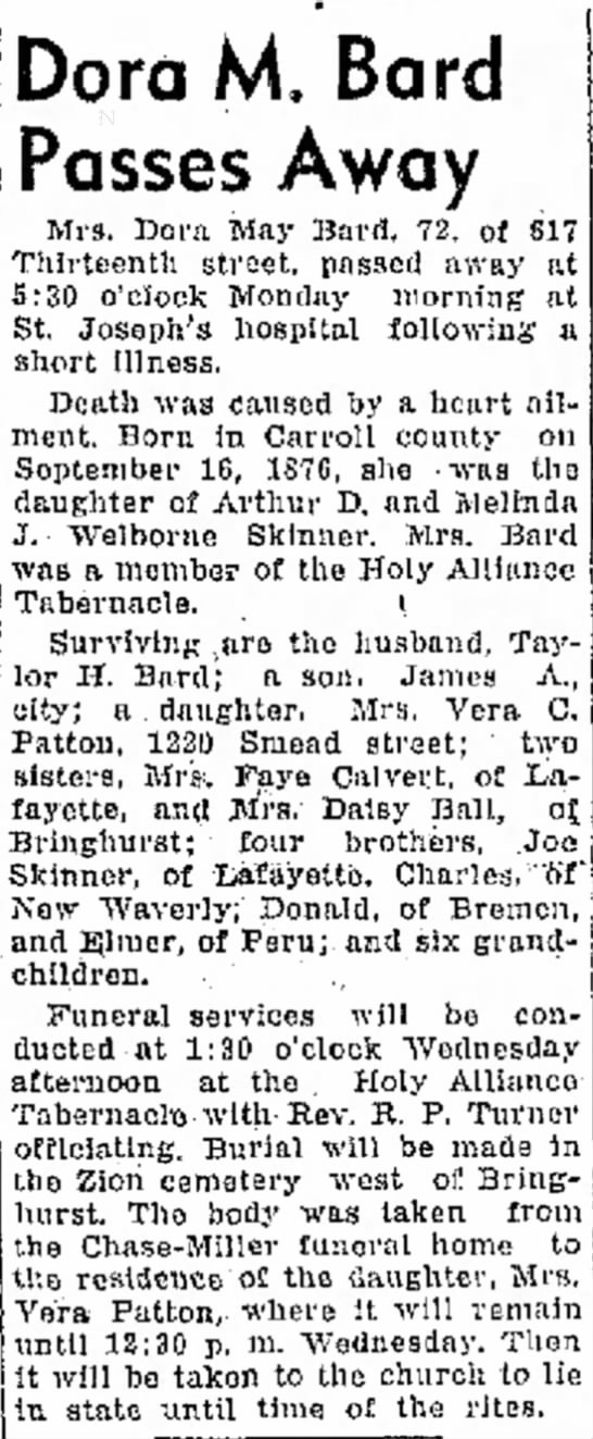 Logansport Pharos-Tribune - 6 Dec. 1948 - Dora M. Bard Passes Away Mrs. Dora May Bard,...