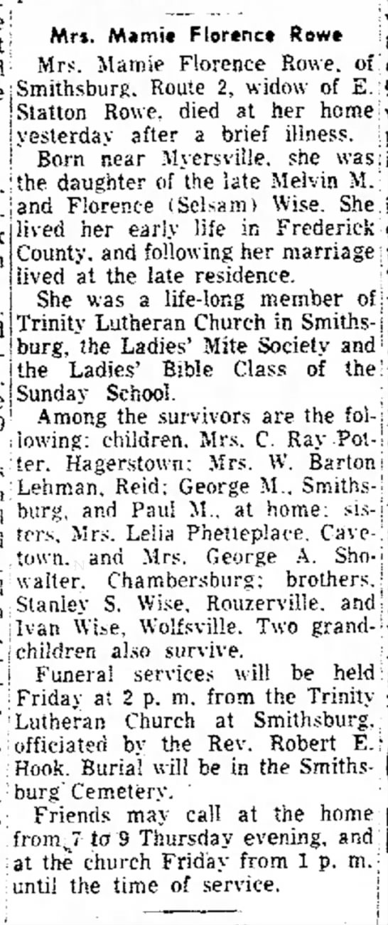 Mamie Florence Rowe (Wise) Death 1954 from the Morning Herald Newspaper -