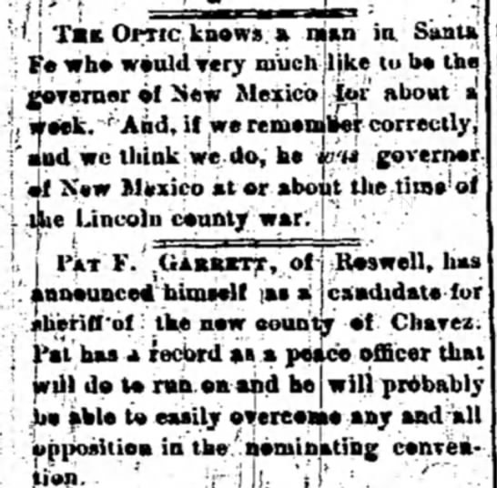 Las Vegas Optic, Jul7 29, 1890 -