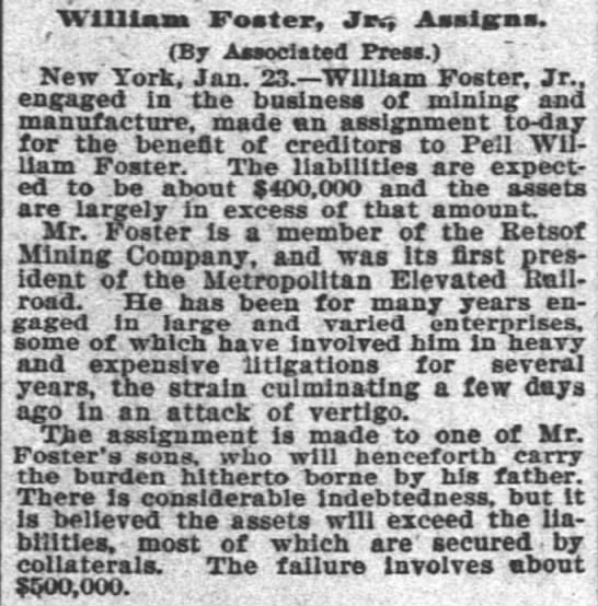 "The Times-Picayune (New Orleans) Jan. 24, 1896 - William Coster, Jus Assigns. "" r - -i - (By..."