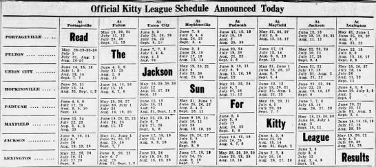 1936 Kitty League schedule -