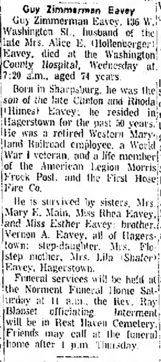 Eavey, Guy Z, obit, Thurs, 3 May 1962, Morning Herald, Hagerstown, MD -