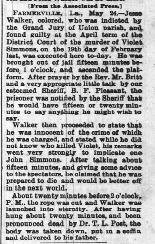 The Times-Picayune (New Orleans, Louisiana) 25 May 1878 Jesse Wallker -