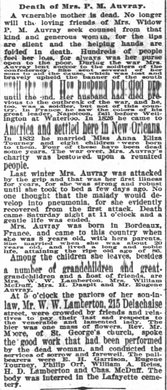 Mrs P.M. Auvray Obituary