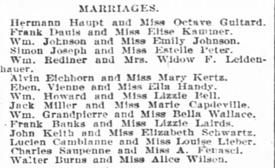 marriage Haupt-Guitard - MARKIAGES. Hermann Hmipt and MIs Octnre...
