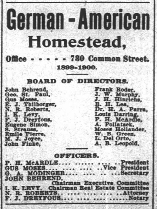 John Behrend, German American Association, times picayune 9/1/00 - Homestead, Ofiee - - 780 Common StreeL...