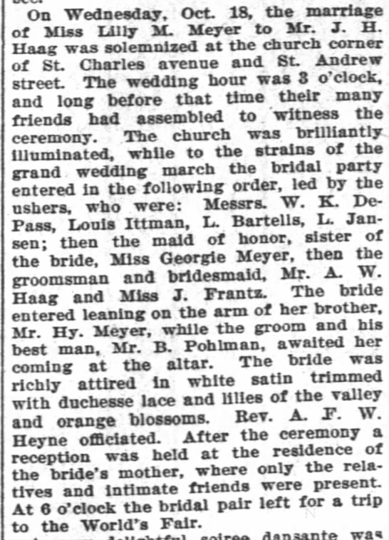 10/22/1893 Wedding of Lilly Meyer to J. H.  Haag details. -
