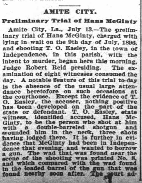 McGinty, John H. New Orleans Times Picayune, 14 Jul 1896 p.12 -