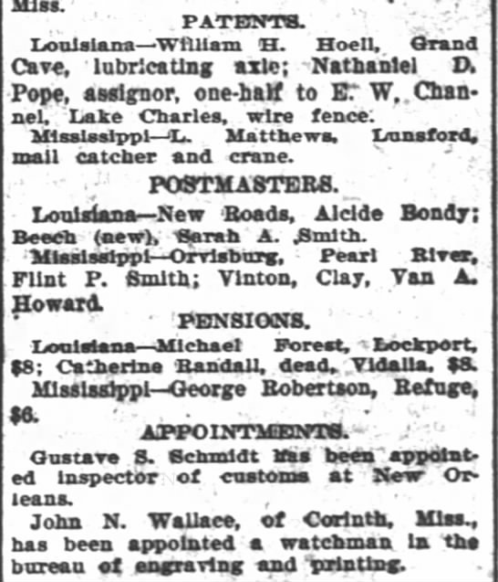 The Times-Picayune (New Orleans, Louisiana) 4 Apr 1900, Alcide Bondy, Postmaster, New Roads -