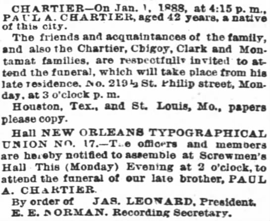 Times Picayune 2 January 1888 Page 4 -