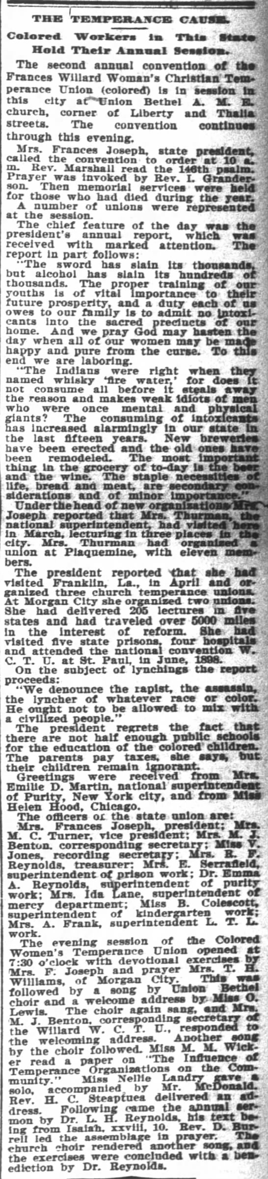 The Temperance Cause. The Times-Picayune (New Orleans, Louisiana) May 12, 1899, p 3 -
