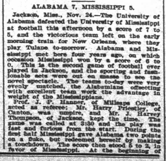 """Alabama 7, Mississippi 5"" 11/25/1899, The Times-Picayune, p.6 #1 -"