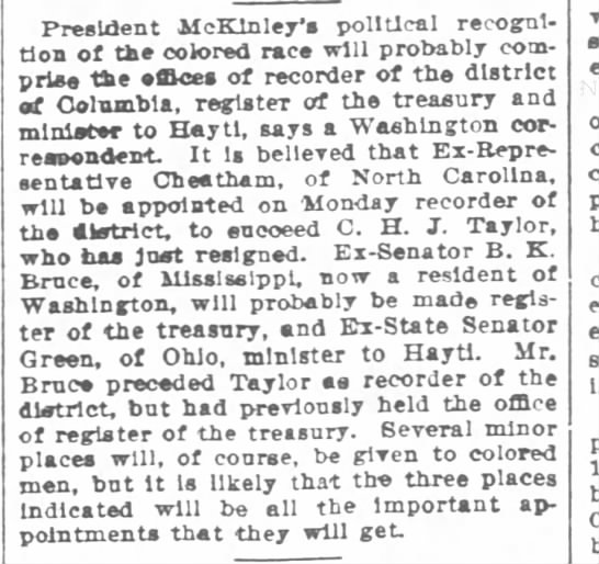1897-05-12-Times-Picayune-p4-[TaylorNote] - President McKlnley's political recognition of...