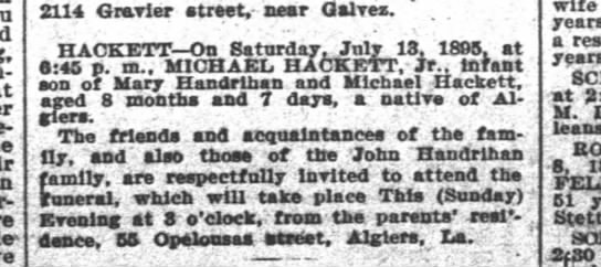 14 Jul 1895_Michael Hackett Jr_Obit -