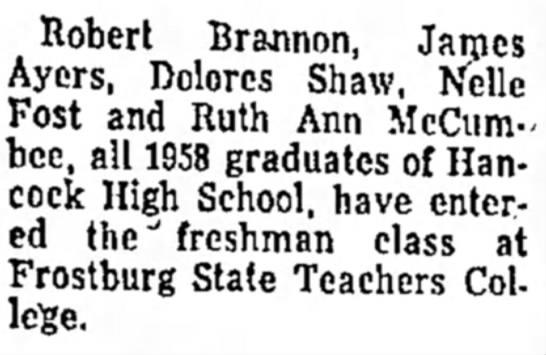 Dolores Shaw entering Frostburg State Teachers College -