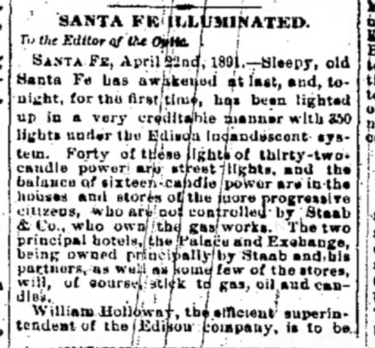electricity to SF April 1891 -