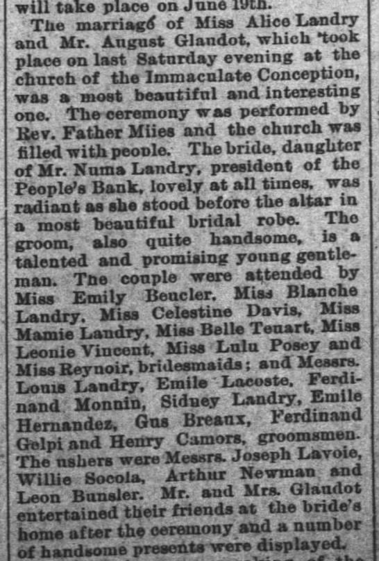 Camors & Renoir in Landry wedding -