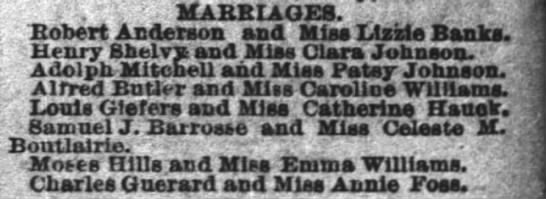 marriage notice for Samuel J barrosse and celeste m bouterie, 1883 -