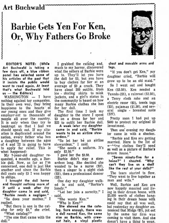 Barbie, Capitalism aug 15 1967 morning herald -