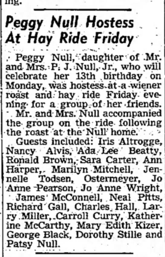 Peggy Null - Mexico MO 18 Oct 1947 -