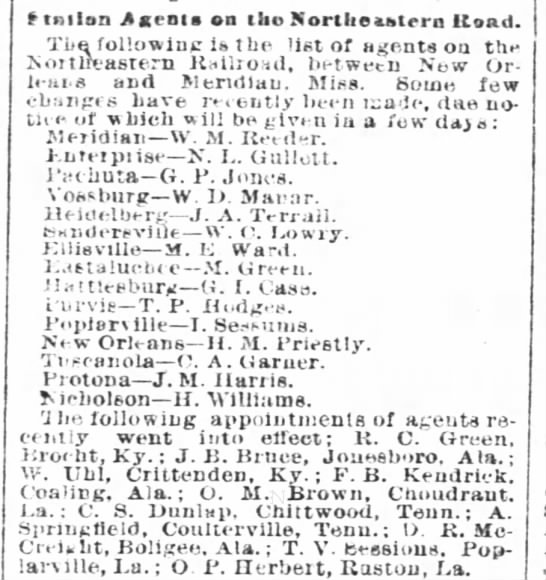 Agents Names for the Northeastern Railroad. 1884 -