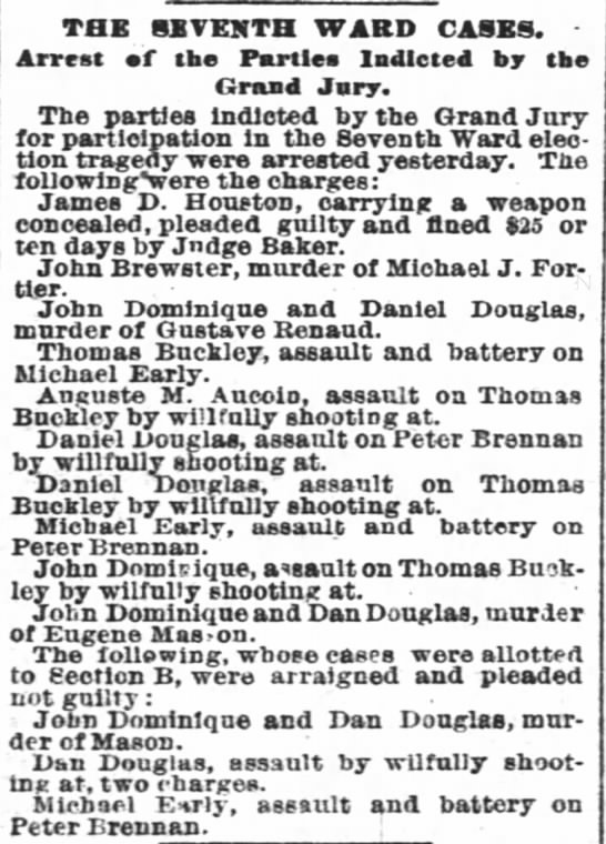 Dominique, John accused of murder 31 Jan 1884 -