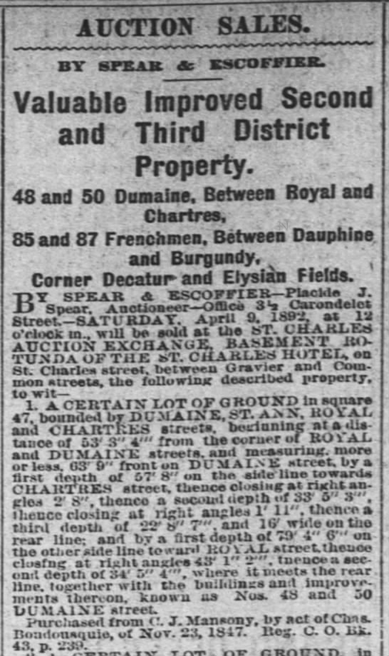 C. J. Mansony French Quarter Property auction April 9, 1892 TP -