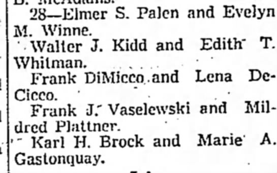 June 28 1942 Wedding Day (The Daily Freeman Thursday December 31 1942) -