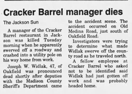 News article on Joseph W Widlak car accident  The Jackson