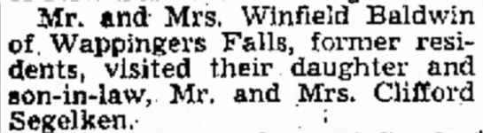 Segelkens are visited by Winfield Baldwins. -