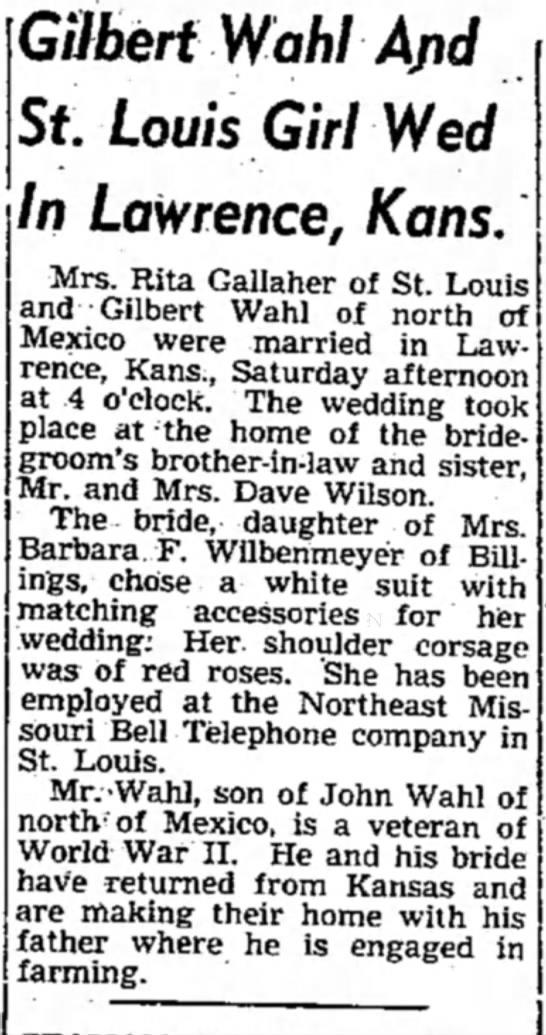 Gilbert Wahl, Mexico Ledger, 24 Jun 1947 -