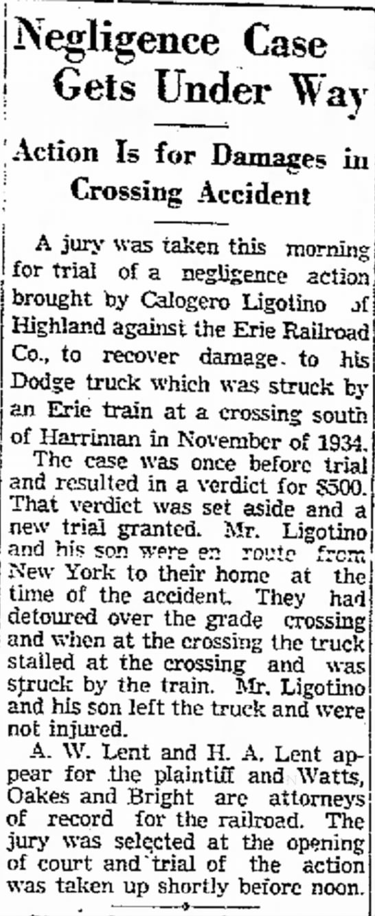 Erie Railroad Lawsuit Article 1 - T- 7 Negro Is Under Way - ! lo Is for Damages...