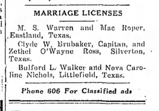 Clyde Brubaker & Zethel Ross marriage license notice  -